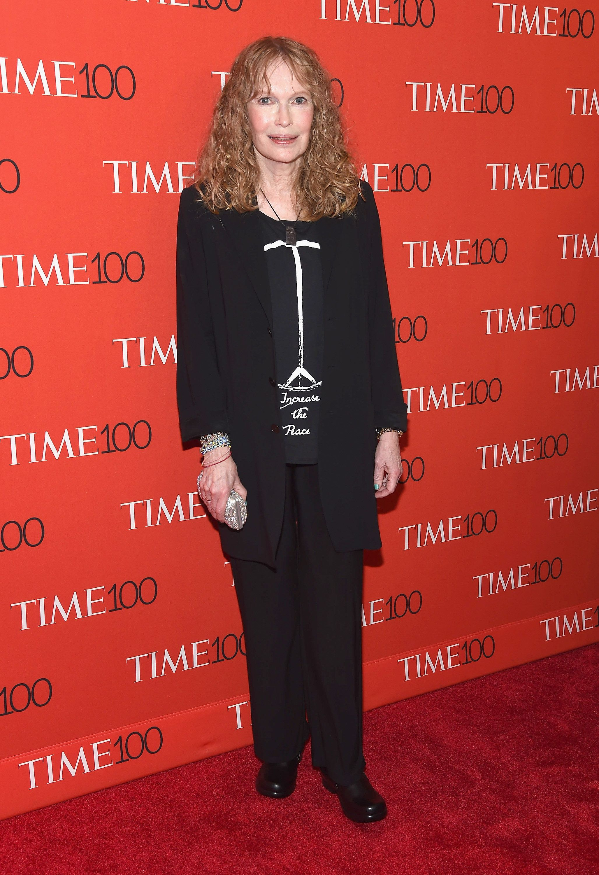NEW YORK, NY - APRIL 21:  Actress Mia Farrow attends TIME 100 Gala, TIME's 100 Most Influential People In The World at Frederick P. Rose Hall, Jazz at Lincoln Center on April 21, 2015 in New York City.  (Photo by Gary Gershoff/WireImage)