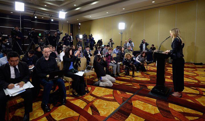 Maria Sharapova addresses the media in Los Angeles regarding herfailed drug test.