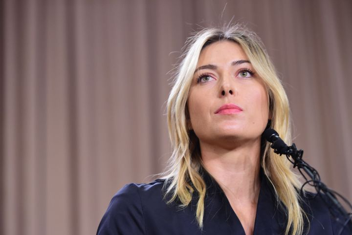 Russian tennis player Maria Sharapova speaks at a press conference in downtown Los Angeles on March 7, 2016, where she acknowledged failing a drug test.