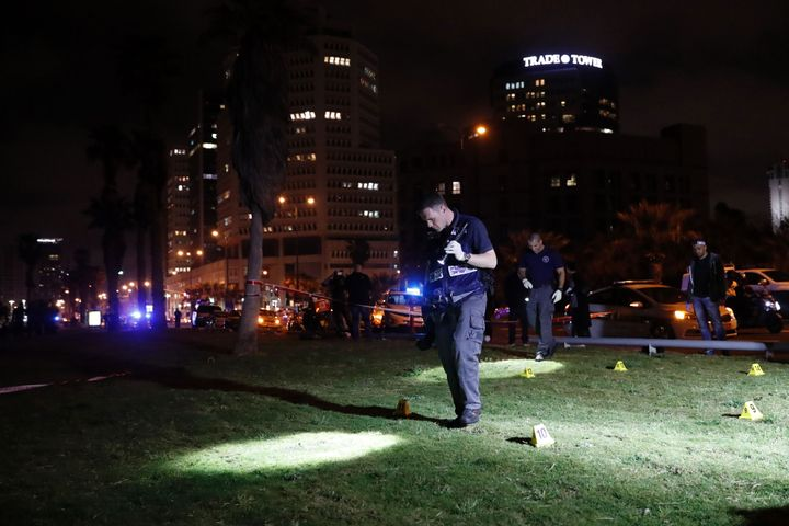 Israeli police officers at thescene of a stabbing attack in the neighborhood of Jaffa in Tel Avivon Tuesday. An A