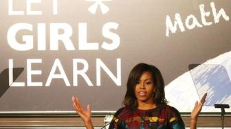 WASHINGTON, DC - MARCH 08:  U.S. first lady Michelle Obama speaks at the Union Market to celebrate International Women's Day, March 8, 2016 in Washington, DC. U.S. first lady Obama spoke to women gathered to mark the first anniversary of the Let Girls Learn initiative.  (Photo by Mark Wilson/Getty Images)