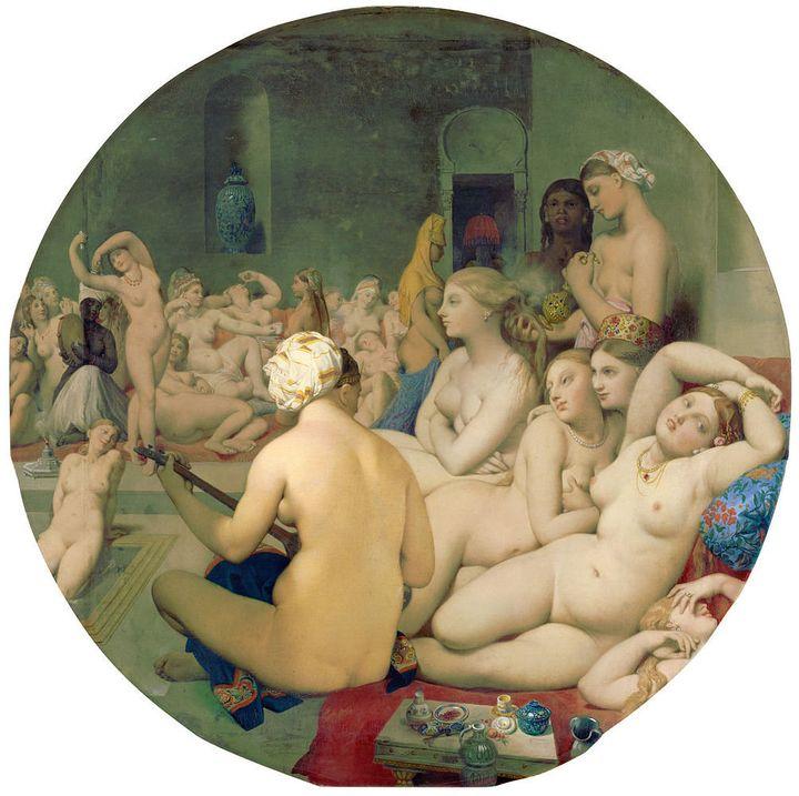 "<a href=""https://en.wikipedia.org/wiki/The_Turkish_Bath"" target=""_blank"">Jean Auguste Dominique Ingres, ""Le Bain Turc,"" 1862<"