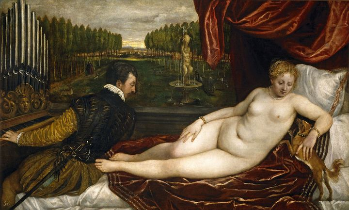 "<a href=""http://www.wga.hu/html_m/t/tiziano/09/05organ.html"" target=""_blank"">Titian, ""Venus and an Organist and a Little Dog,"
