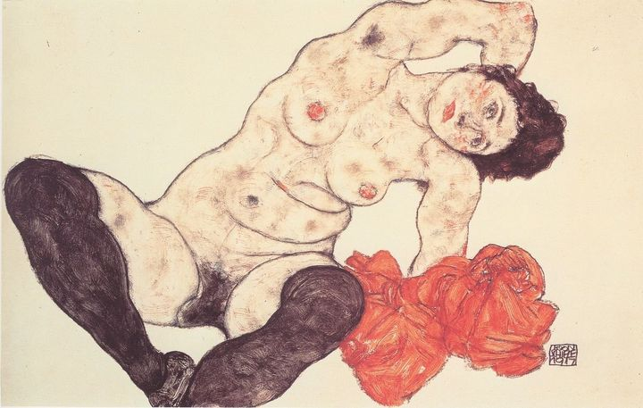 "<a href=""https://en.wikipedia.org/wiki/Egon_Schiele"" target=""_blank"">Egon Schiele, ""Sitting Girl,"" 1917</a>"