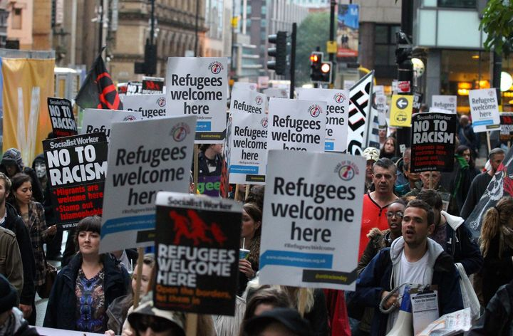 Protesters rally in support of refugees in Manchester in October. Yusuf was referred to WAST for support, and ended up taking