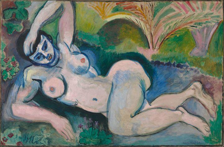 "<a href=""https://en.wikipedia.org/wiki/Blue_Nude_(Souvenir_de_Biskra)"" target=""_blank"">Henri Matisse, ""Blue Nude,"" 1907</a>"