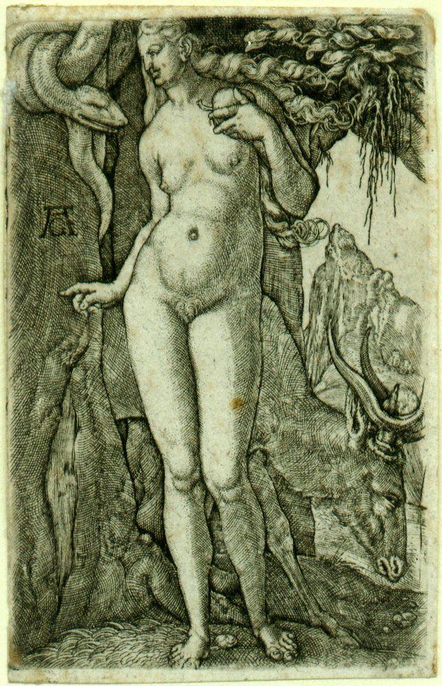 "<a href=""https://en.wikipedia.org/wiki/Heinrich_Aldegrever"" target=""_blank"">Heinrich Aldegrever, ""Eve,"" 1540</a>"