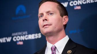 UNITED STATES - JANUARY 7: Rep. Rodney Davis, R-Ill., participates in the press conference with House GOP leaders following the House Republican Conference meeting in the basement of the Capitol on Wednesday, Jan. 7, 2015. (Photo By Bill Clark/CQ Roll Call)