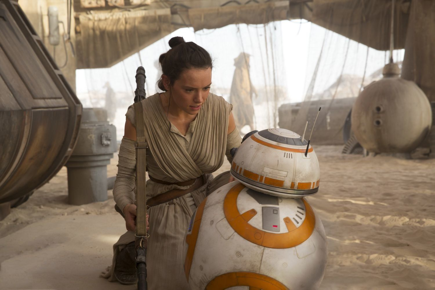 Daisy Ridley as Rey, with the true star of the show,