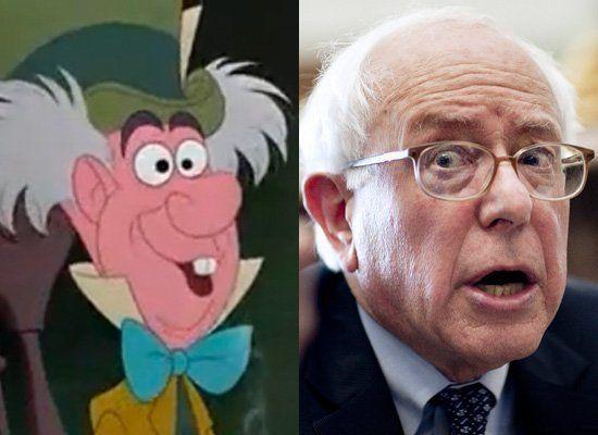 Sen. Bernie Sanders (I-Vt.) & The Mad Hatter (<em>Alice In Wonderland</em>)  <em>Photo credit: Disney/Getty</em>
