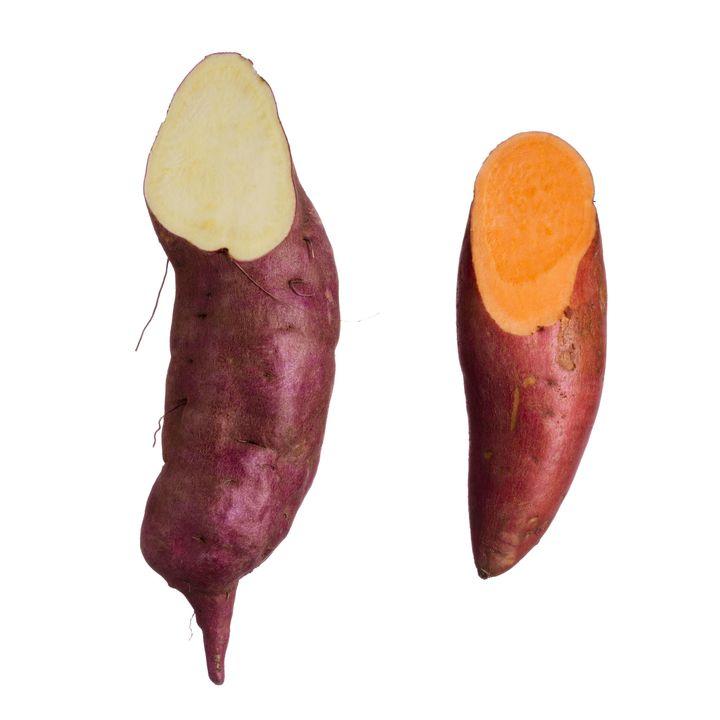 White sweet potato (left), Orange sweet potato (right)