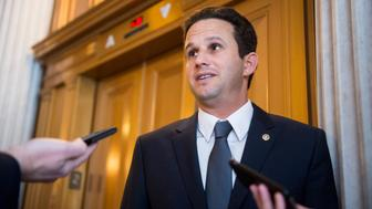 UNITED STATES - JANUARY 27: Sen. Brian Schatz, D-Hawaii, speaks with reporters outside of the Senate Democrats' policy lunch on Wednesday, Jan. 27, 2016. (Photo By Bill Clark/CQ Roll Call)