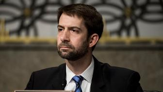 UNITED STATES - FEBRUARY 9: Sen. Tom Cotton, R-Ark., questions witnesses during the Senate Armed Services Committee hearing on 'Worldwide Threats' on Tuesday, Feb. 9, 2016. (Photo By Bill Clark/CQ Roll Call)