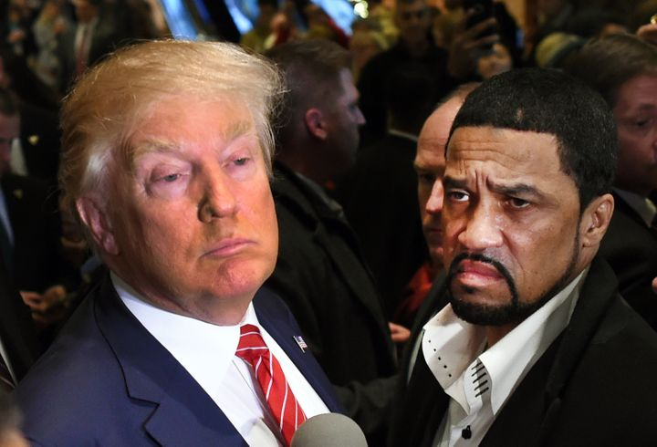 Donald Trump and Reverend Darrell Scott, a black dude, possibly his friend.