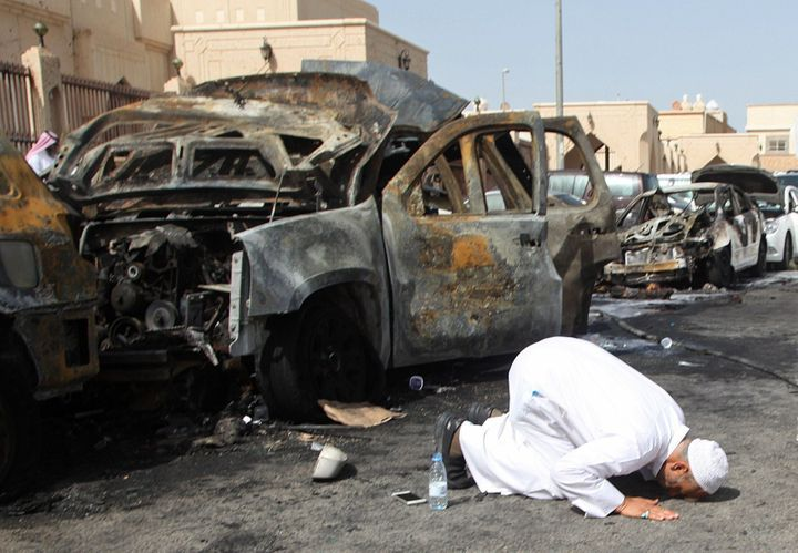 The scene outside a mosque in Saudi Arabia after the Islamic State organization staged a suicide bombing there in 2015.