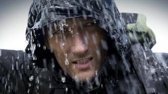 Hiker in Heavy Rain Storm
