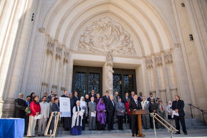 Religious leaders gather to sign Shoulder to Shoulder's anti-bigotry religious freedom pledge at the Washington National