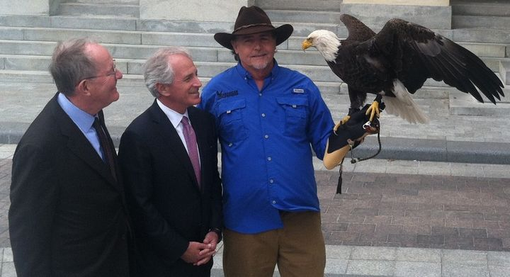 Here's Tennessee Republican Sens. Lamar Alexander and Bob Corker meeting an eagle outside the U.S. Senate. They'd really like
