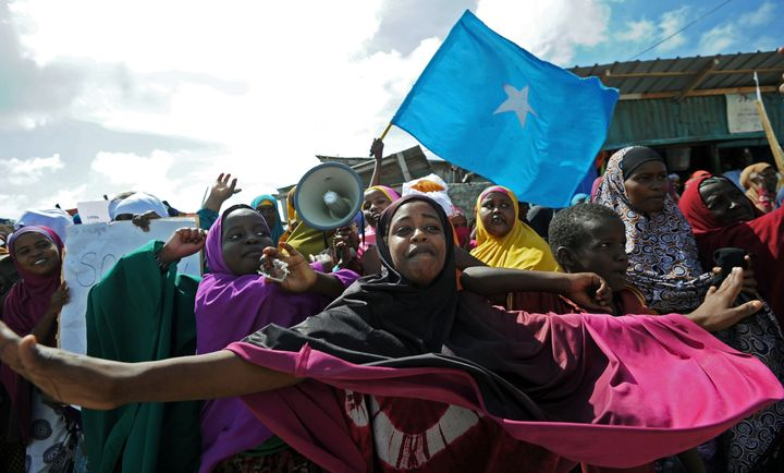 Demonstrators protest against al Shabab insurgents in Mogadishu, Somalia, on Jan. 28, 2016. The militants have carr