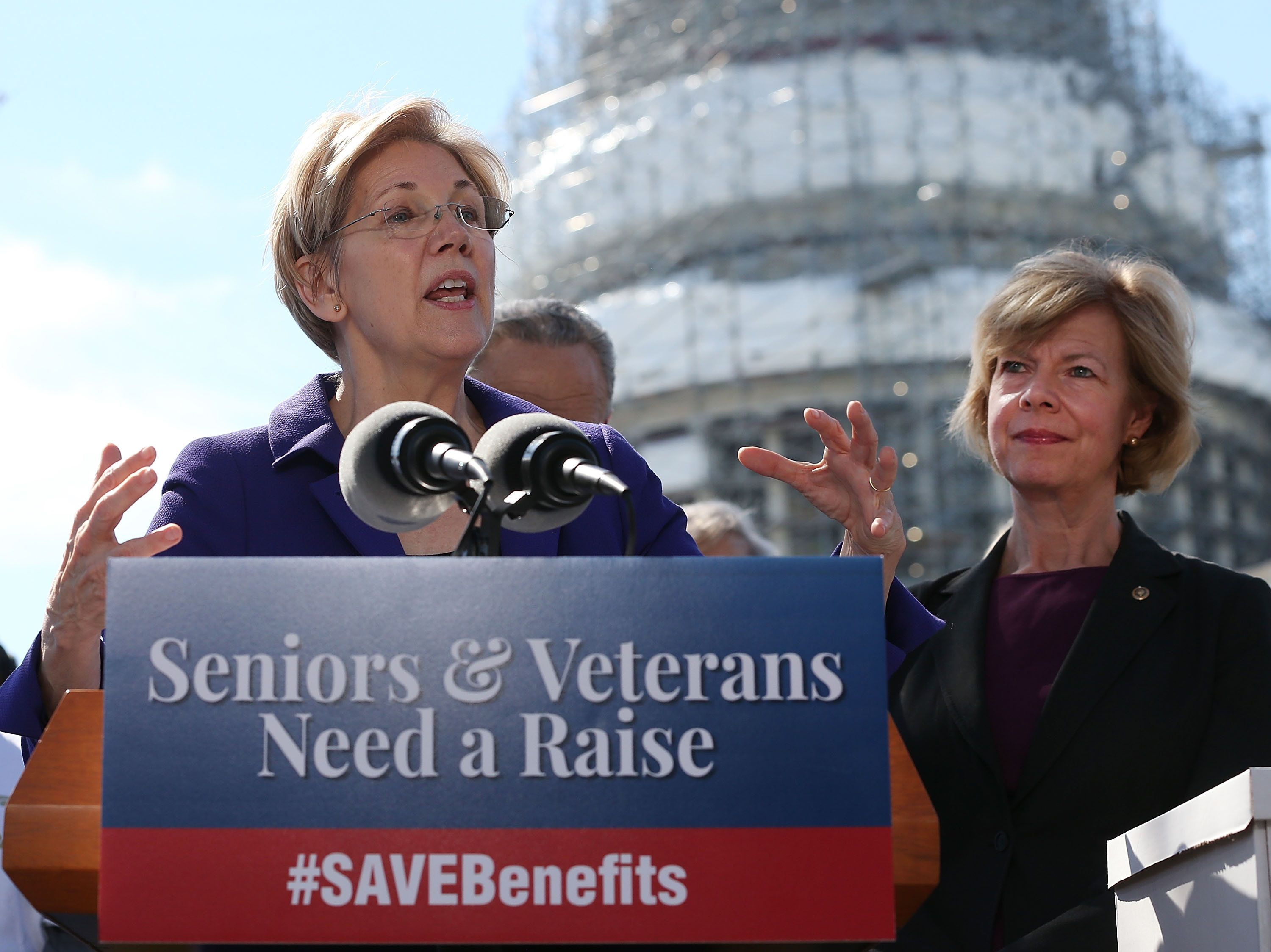 Sen. Elizabeth Warren (D-Mass.) speaks about her bill to give seniors and veterans a one-time payment. Sen. Tammy Baldwi