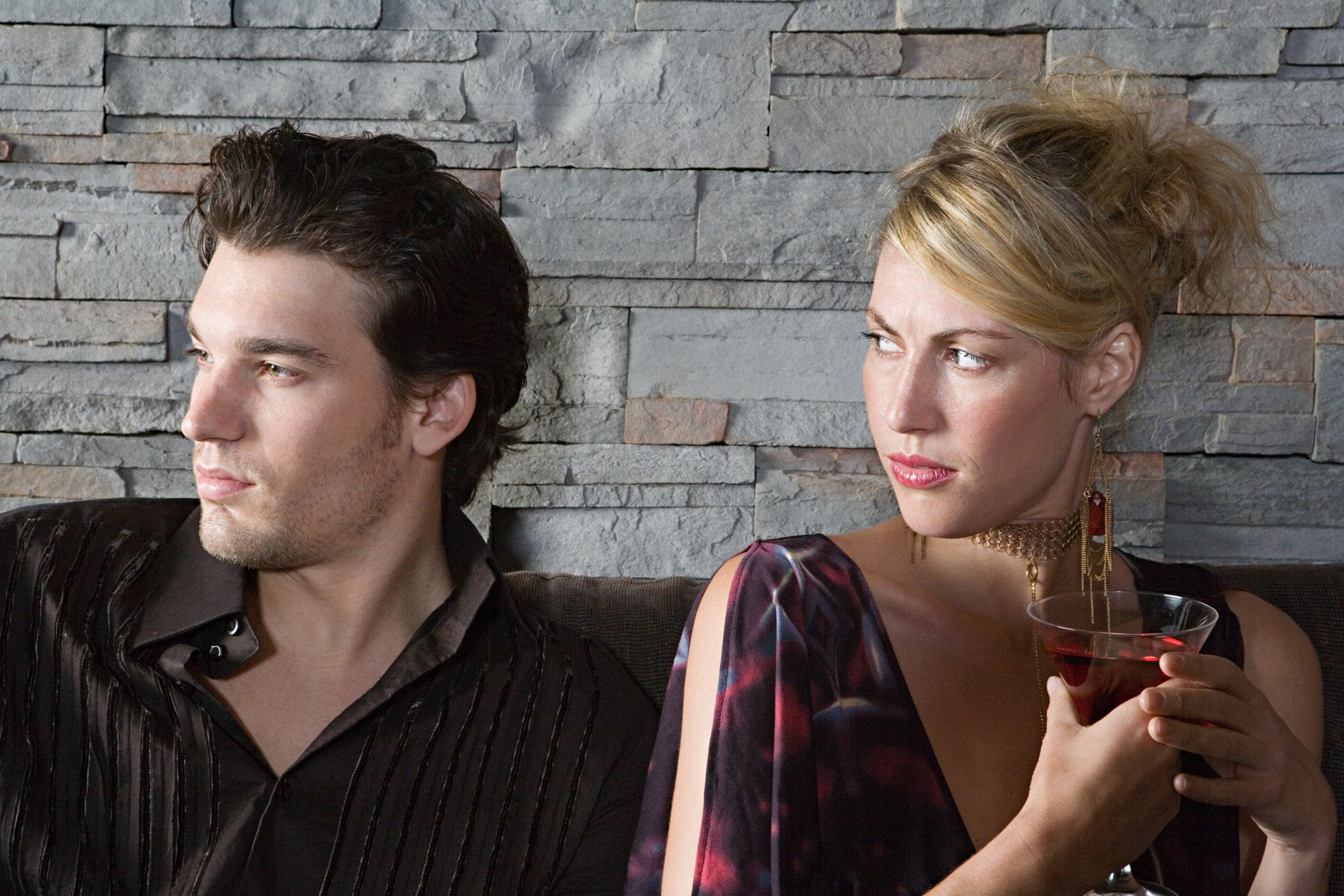Woman frowning at boyfriend