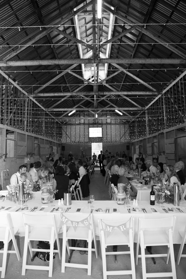 The reception was held in the stables -- perfect for a horse lover like
