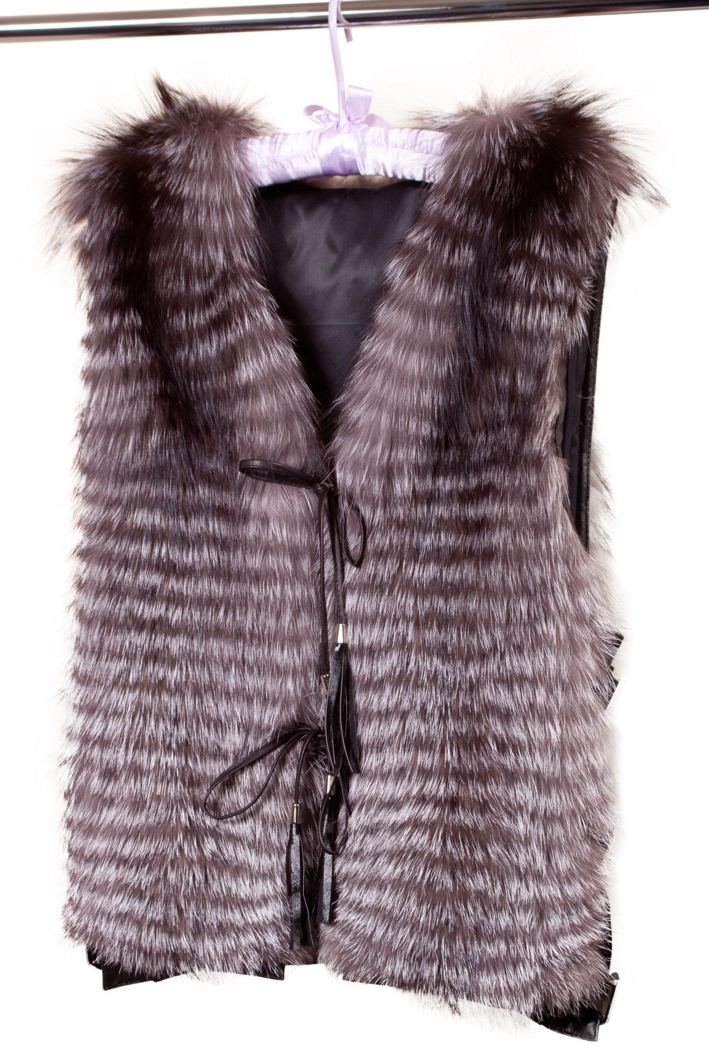 beige fur vest women isolated on white background fur vest isolated on white