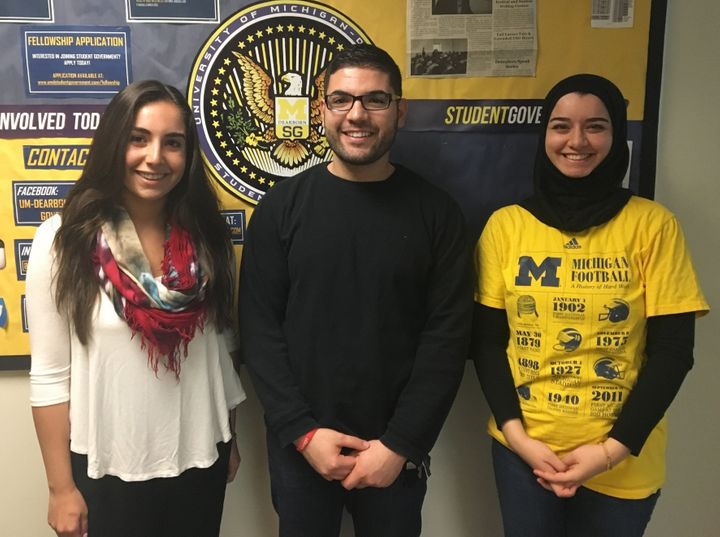 Yasmeen Kadouh, Nasri Sobh and Sara Alqaragholy in Dearborn, Michigan, on March 9, 2016. The three college students are Musli