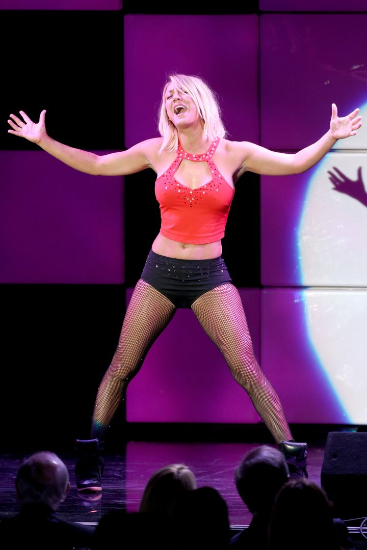 Actress Kaley Cuoco performs onstage during the 24th and final 'A Night at Sardi's' to benefit the Alzheimer's Association at