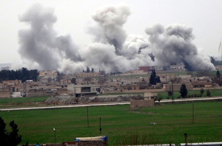 Western leaders say the Islamic State group now poses a greater danger to the West than al Qaeda. Smoke rises from Tel Abyad,