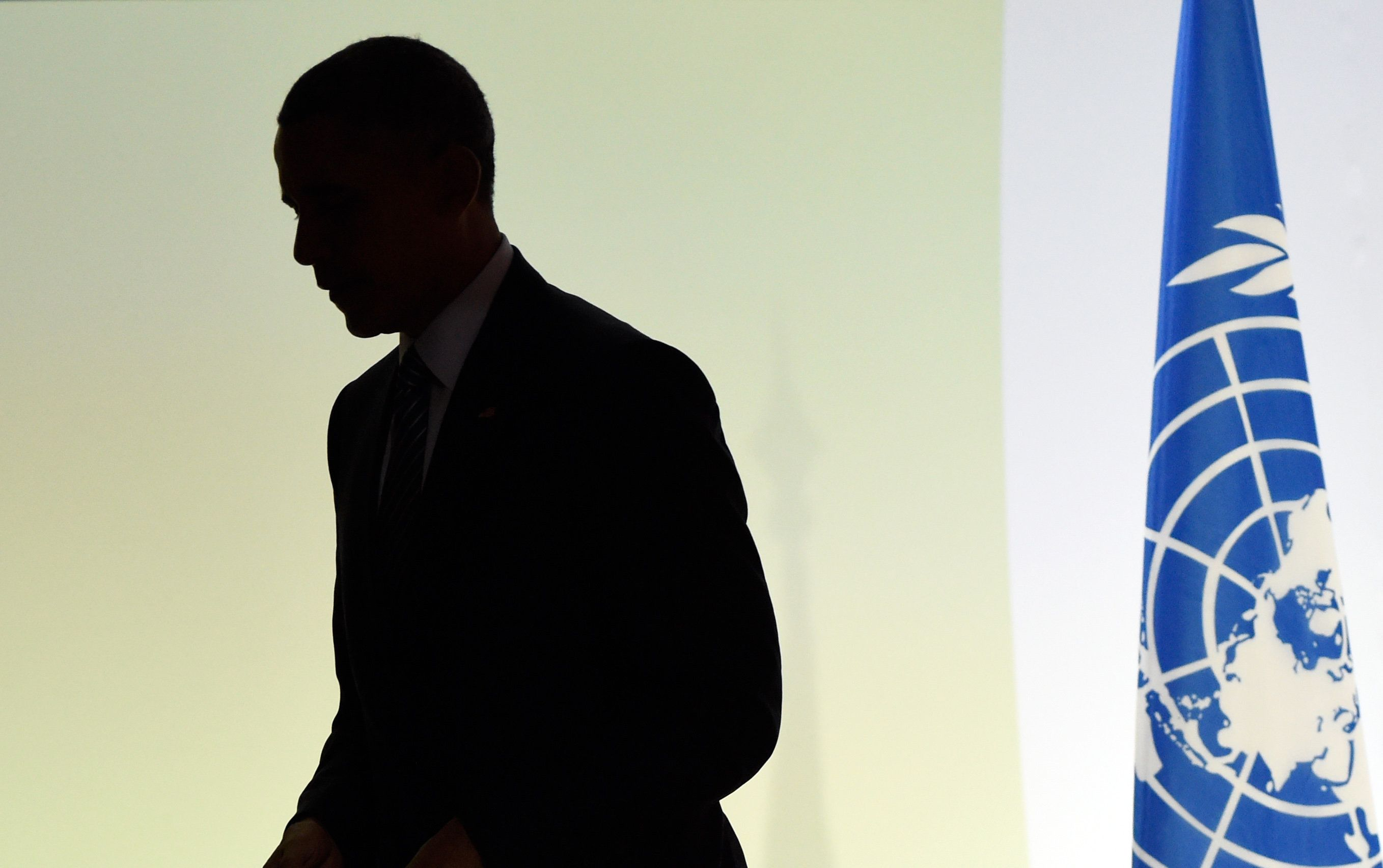 US President Barack Obama arrives to deliver a speech at the COP 21 United Nations conference on climate change, on November 30, 2015 at Le Bourget, on the outskirts of the French capital Paris.  More than 150 world leaders are meeting under heightened security,  for the 21st Session of the Conference of the Parties to the United Nations Framework Convention on Climate Change (COP21/CMP11), also known as Paris 2015 from November 30 to December 11.  / AFP / ALAIN JOCARD        (Photo credit should read ALAIN JOCARD/AFP/Getty Images)