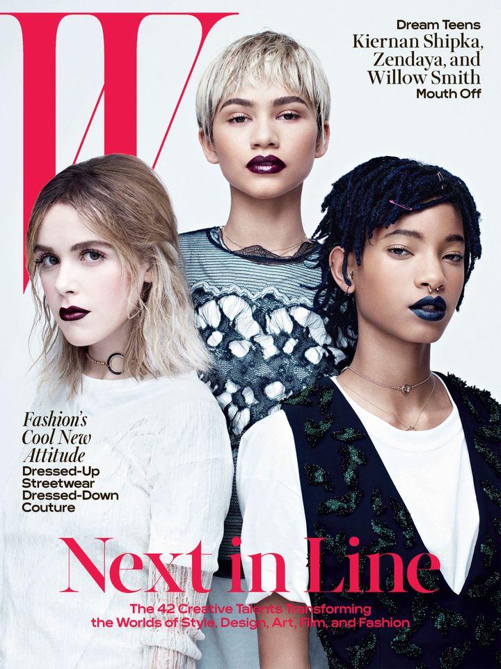 Kiernan Shipka, Zendaya and Willow Smith on theApril 2016cover of W Magazine.