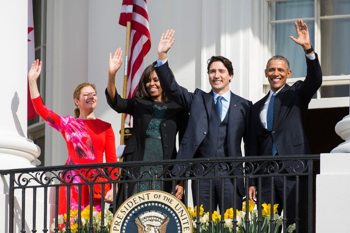 President Barack Obama (R) and Canadian Prime Minister Justin Trudeau (2nd R), U.S. first lady Michelle Obama (2nd L) and Sop