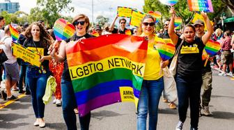 Members of the Amnesty International LGBTIQ network march during the MidSumma festival Pride march conducted by the lesbian, gay, bisexual, transgender and intersex (LGBTI) communities of Melbourne calling for marriage equality. St Kilda, Australia January 31 2016