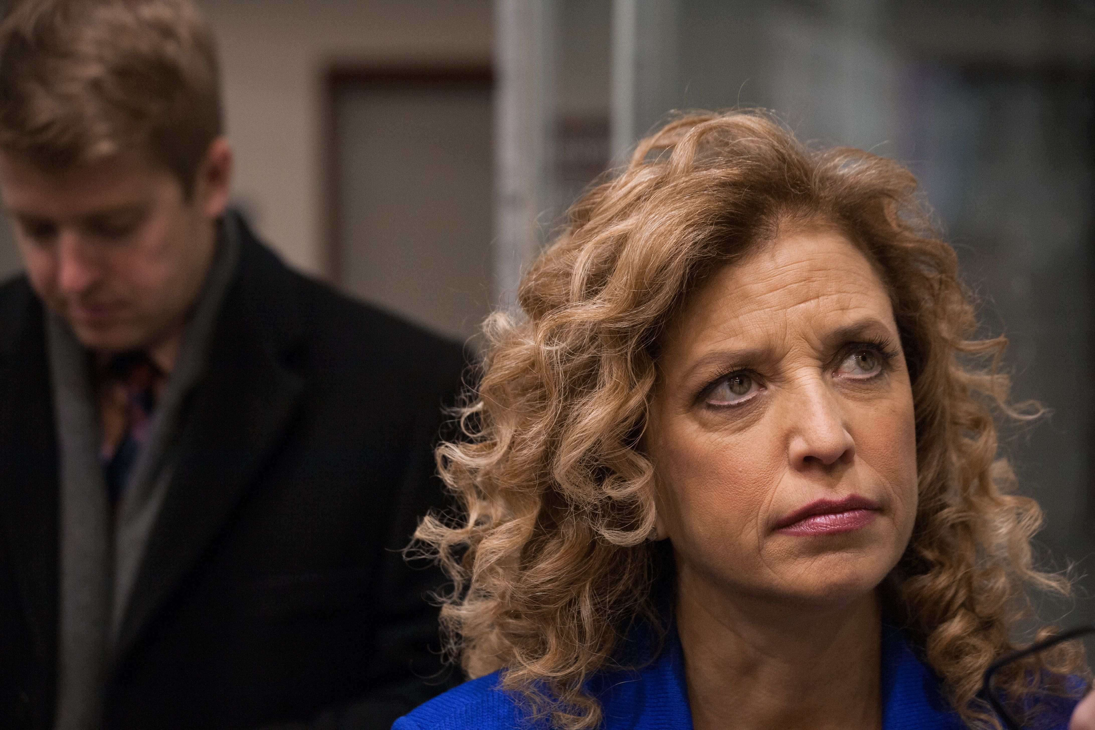 SAINT ANSELM COLLEGE, MANCHESTER, NEW HAMPSHIRE, UNITED STATES - 2015/12/19: Congresswoman and DNC Chair Debbie Wasserman-Schultz speaks with the press at the third Democratic presidential debate. (Photo by Luke William Pasley/Pacific Press/LightRocket via Getty Images)