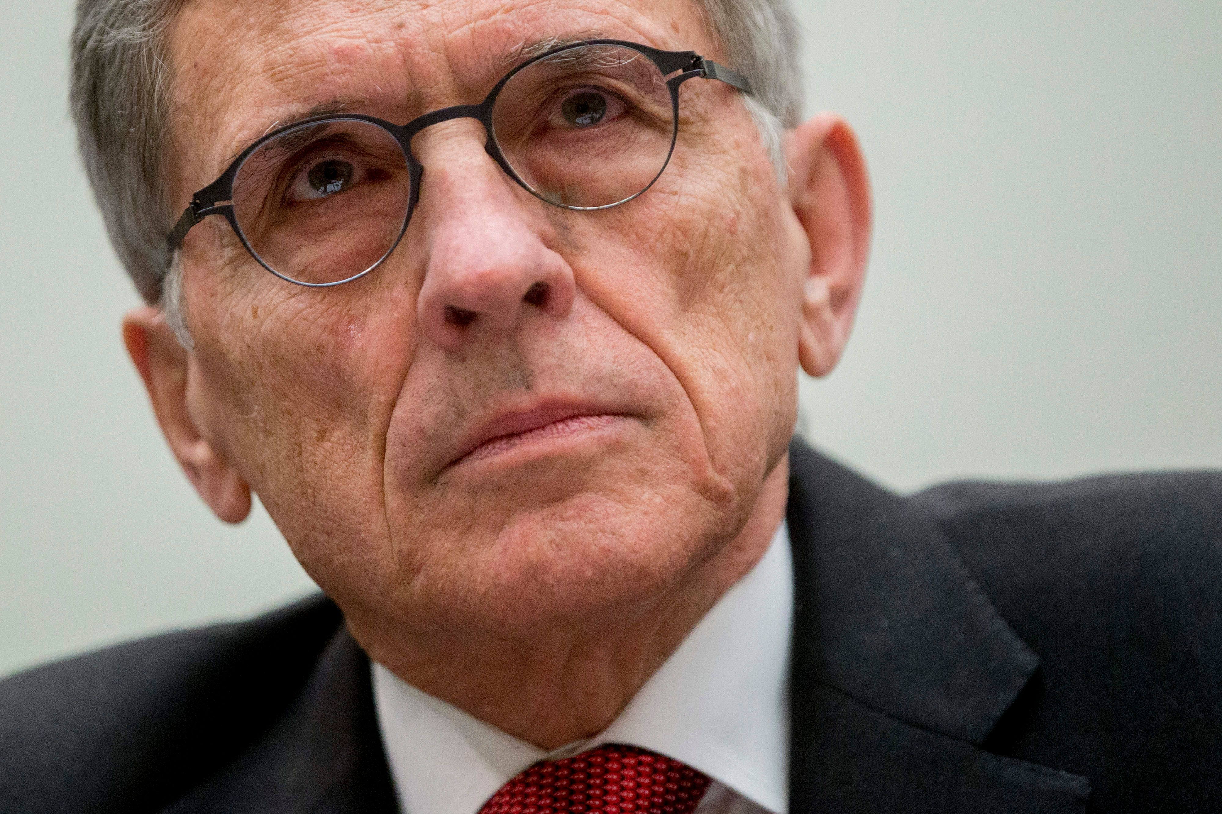 Thomas 'Tom' Wheeler, chairman of the Federal Communications Commission (FCC), listens during a House Judiciary Committee hearing in Washington, D.C., U.S., on Wednesday, March 25, 2015. The Federal Communications Commission was sued by a trade group and a broadband provider this week claiming net neutrality rules issued this year exceed the government's authority. Photographer: Andrew Harrer/Bloomberg via Getty Images