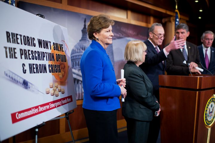 "Sen. Jeanne Shaheen (D-N.H.) (on the left) called CARA the ""equivalent of offering a life preserver with no air in it."""