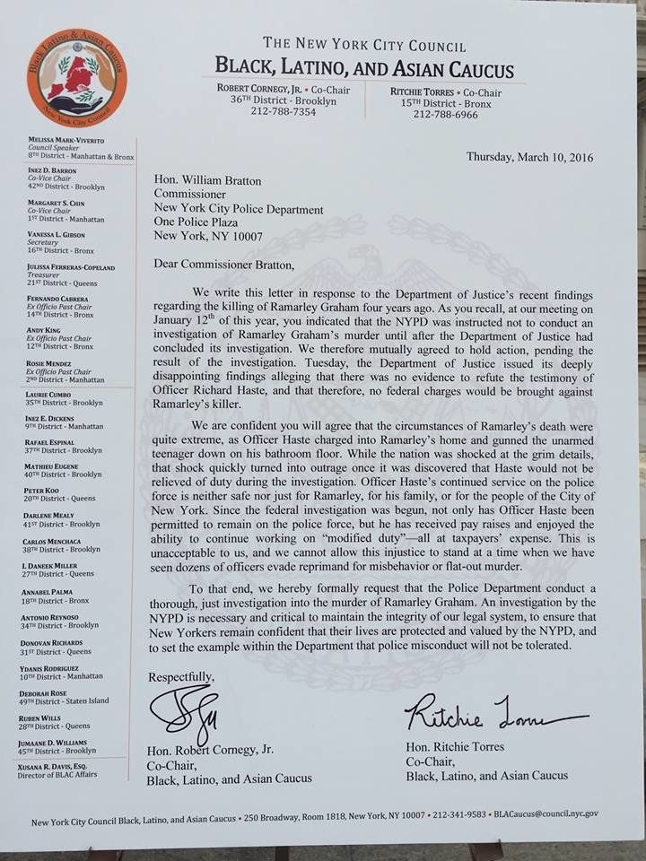 A mockup of the letter sent by 24 City Council members outside City Hall on Thursday.