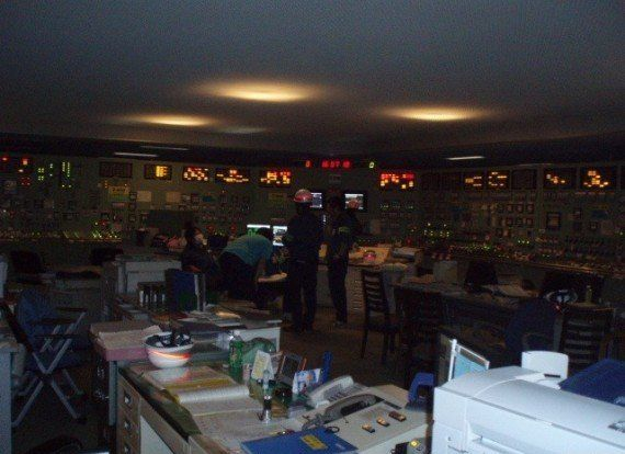 The central control room for reactor five at Fukushima Daiichi Nuclear Power Plant after they lost power from their generator