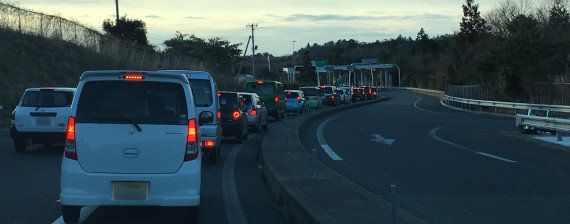 A traffic jam at around 7 a.m. near J-Village on Feb. 26, 2016.