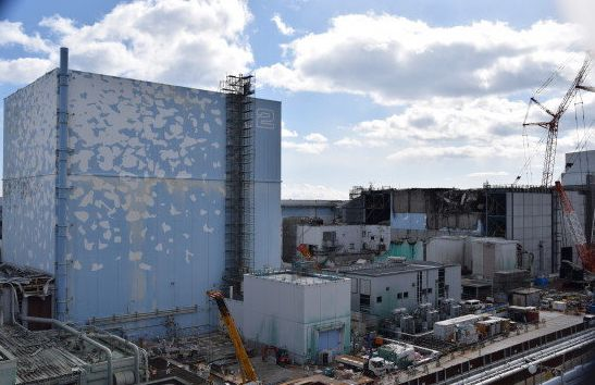 The area around reactor two at Fukushima Daiichi Nuclear Power Plant, with the visible backofreactorthree,
