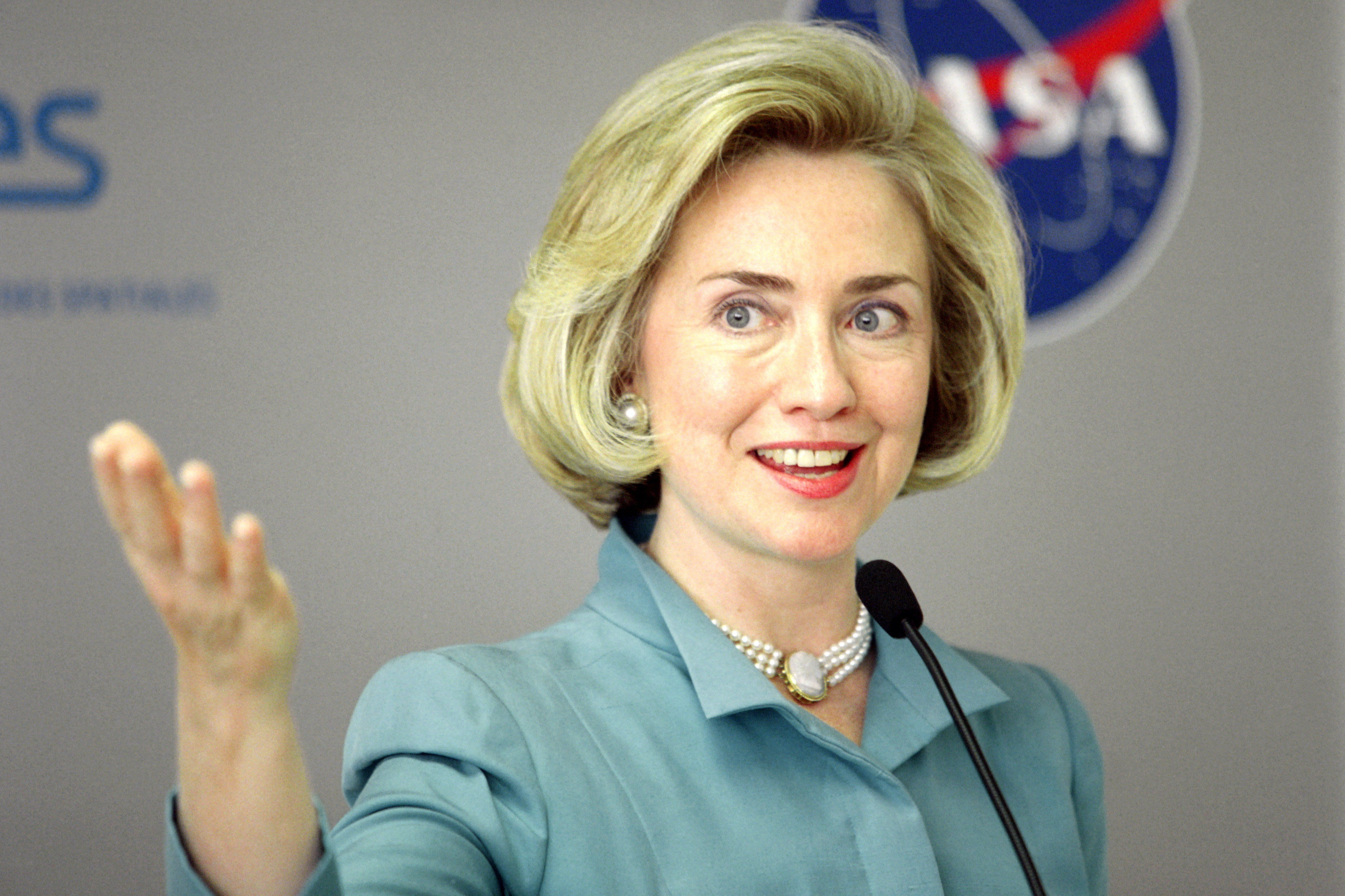 Then-first lady Hillary Clinton in May 1998, a period of booming job growth. Clinton has said she would strive to recreate th