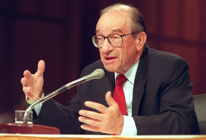 Then-Fed chair Alan Greenspan testifies before Congress in 1998.Many economists credit Greenspan for allowing the era's