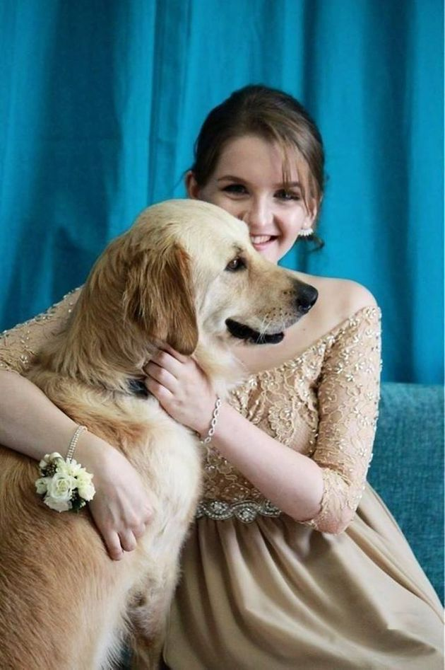 Teen And Her Service Dog Look Fetching In Matching Prom