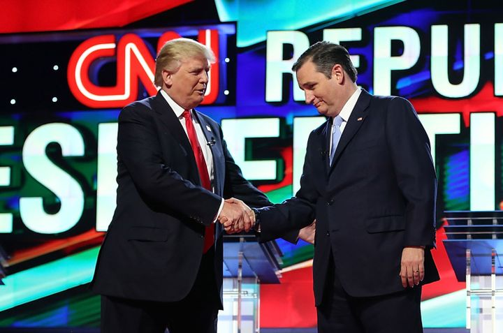Donald Trump and Sen. Ted Cruz shake hands Thursday before the debate.