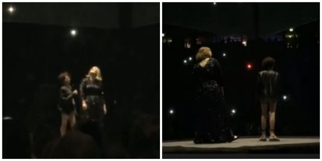 Adele stood next to Emily Tamman as she sung on