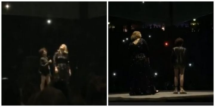 Adele stood next to Emily Tamman as she sung on stage