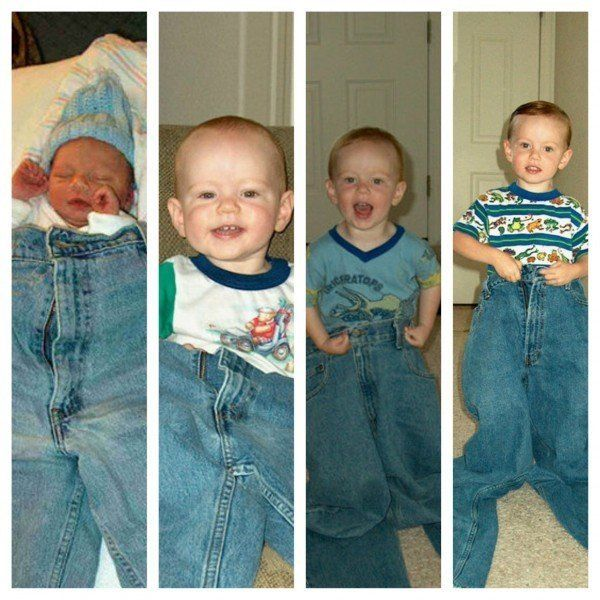 Brandy Yearous' son during the first four years of his life wearing his dad's jeans