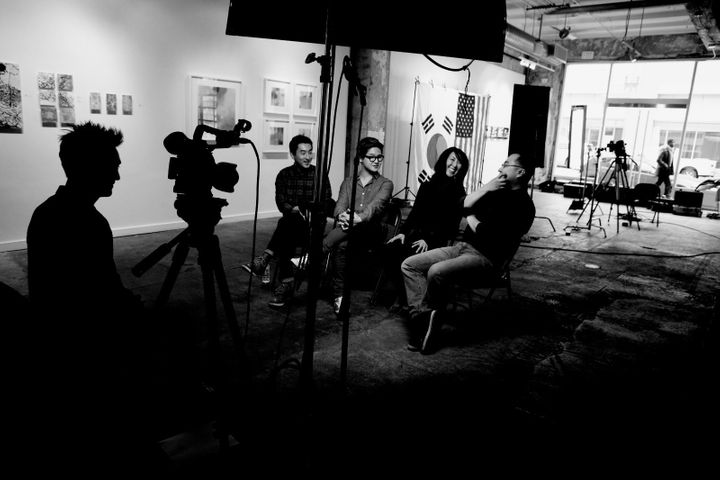 Anders interview Korean-American adoptees in a studio in Washington, D.C.