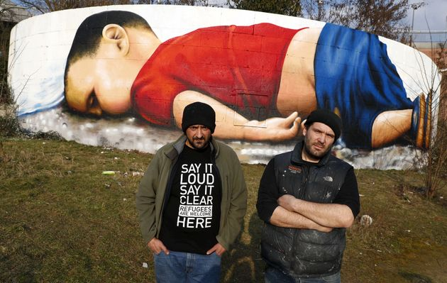 Two graffiti artists, Justus Becker and Bobby Borderline, have painted the mural in